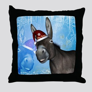 Funny christmas donkey with christmas hat Throw Pi